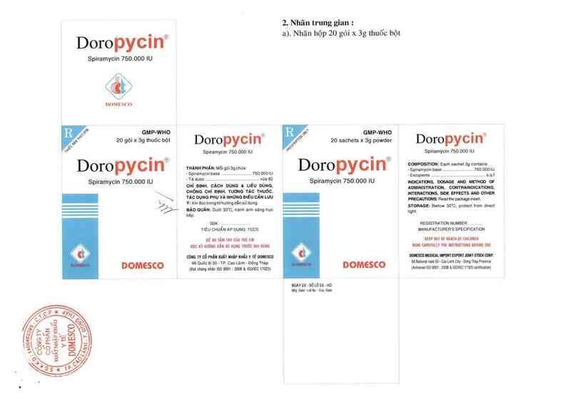 thông tin, cách dùng, giá thuốc Doropycin 750.000 IU - ảnh 1
