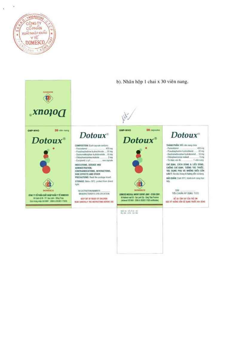 thông tin, cách dùng, giá thuốc Dotoux - ảnh 1