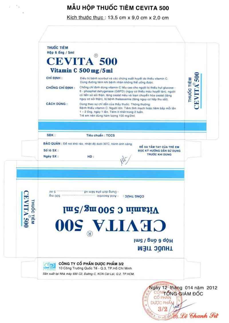 thông tin, cách dùng, giá thuốc Cevita 500 - ảnh 1