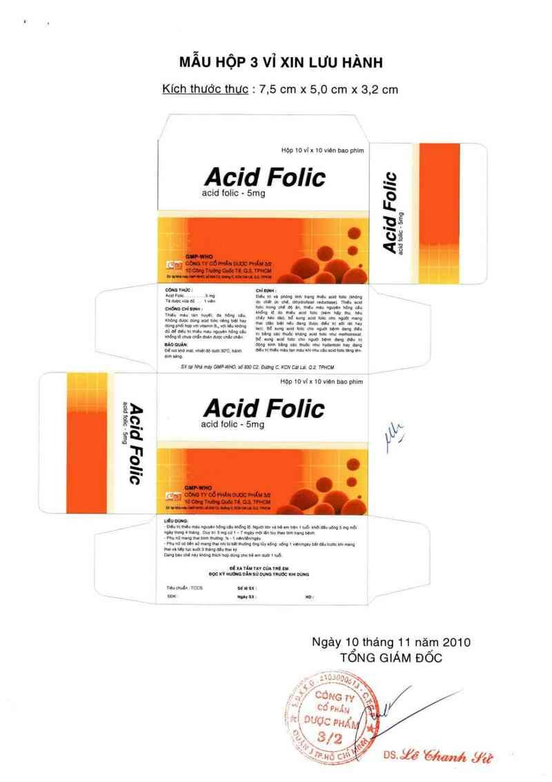 thông tin, cách dùng, giá thuốc Acid Folic 5 mg - ảnh 0
