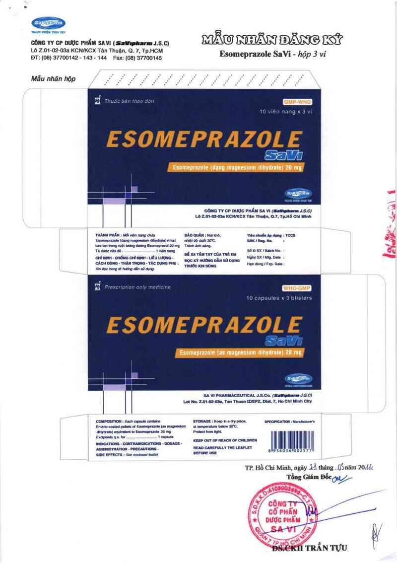 thông tin, cách dùng, giá thuốc Esomeprazole SaVi - ảnh 1