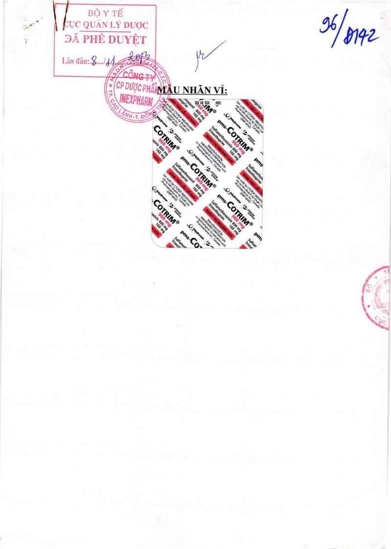 thông tin, cách dùng, giá thuốc pms - Cotrim 960 mg - ảnh 0