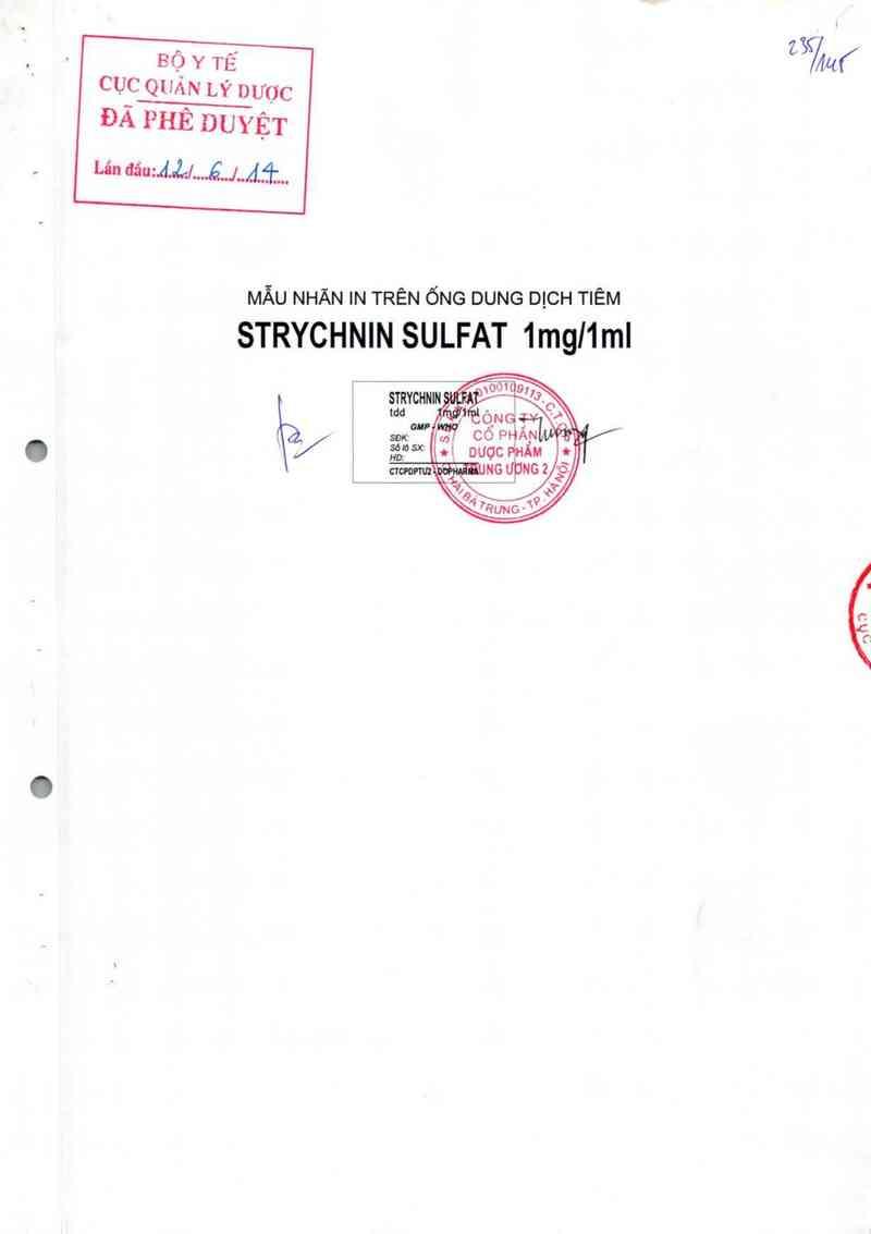 thông tin, cách dùng, giá thuốc Strychnin sulfat 1 mg/1 ml - ảnh 0