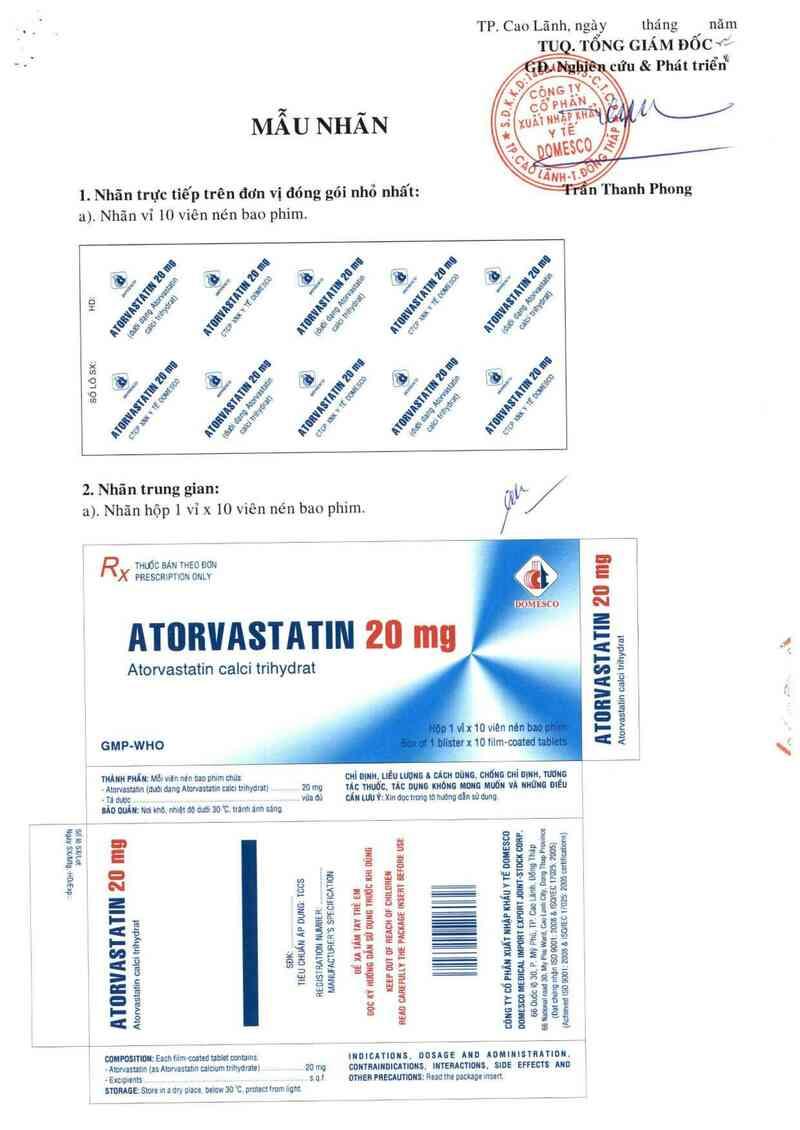 thông tin, cách dùng, giá thuốc Atorvastatin 20 mg - ảnh 1