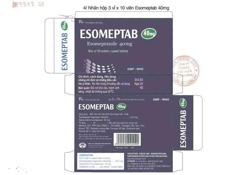 thông tin, cách dùng, giá thuốc Esomeptab 40 mg - ảnh 1