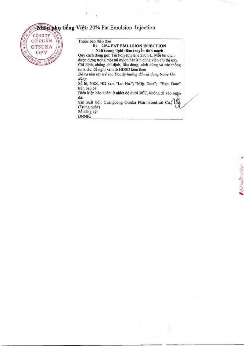 thông tin, cách dùng, giá thuốc 20% Fat Emulsion Injection - ảnh 1