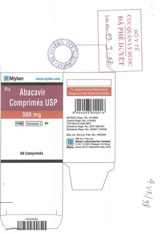 thông tin, cách dùng, giá thuốc Abacavir Tablets USP 300mg - ảnh 1